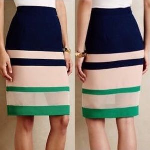 ANTHRO. HARLYN Parfait Colorblock Pencil Skirt XS